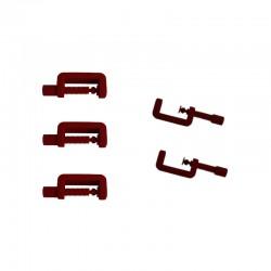 Lot de 5 petits serre joint PLA en couleur rouge. Fabriqué en Alsace.