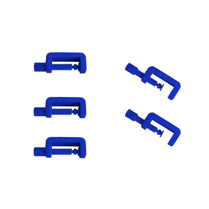 Lot de 5 petits serre joint couleur bleu foncé. Fabriqué en Alsace.