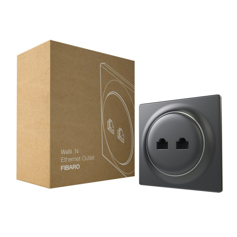 FIBARO - Prise murale 2 ports Ethernet Walli N Ethernet Outlet Anthracite